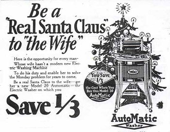 "This vintage ad shows men what to give ""to the wife"" for a true Christmas treat."