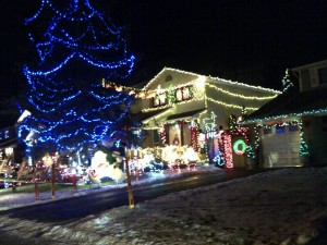 One of the generously-decorated homes on Taffy Lane.