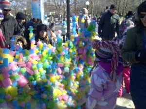 A kid-created ice wall in Confederation Park.