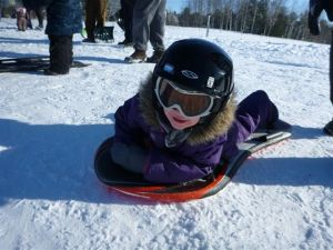 Erin's daughter, Claire, is fearless on the Ottawa sledding hills.