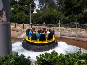 "Another group heads down the ""river"" on the 'Shipwreck Rapids' ride. Don't forget your towel."