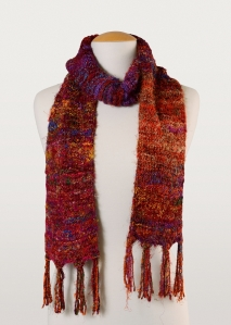 This colourful scarf was made of scraps of recycled silk.
