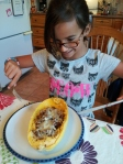 One of my happy customers, ready to dig in!